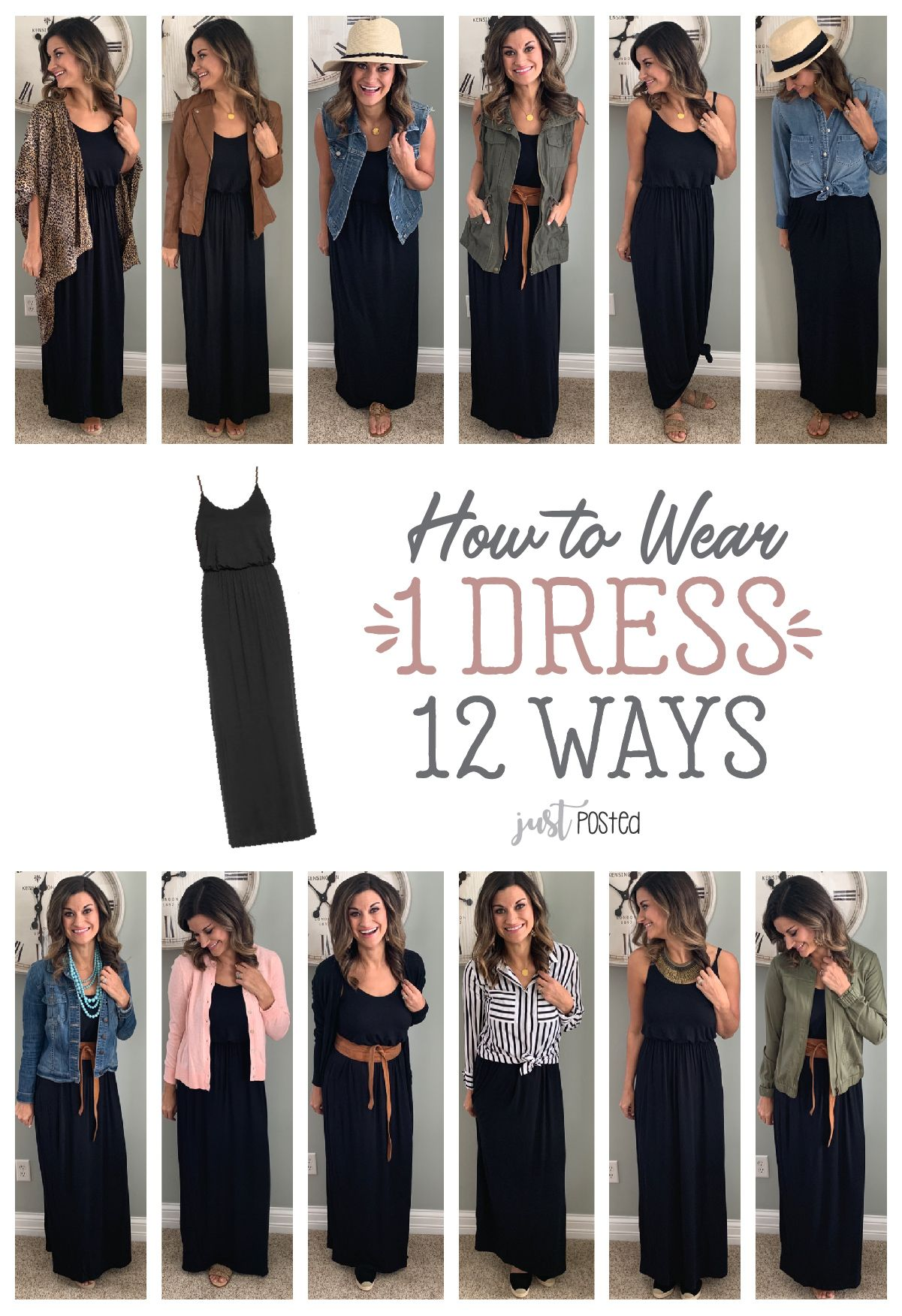 62166cf39a1 How to wear and style 1 maxi dress 12 different ways! This black maxi dress