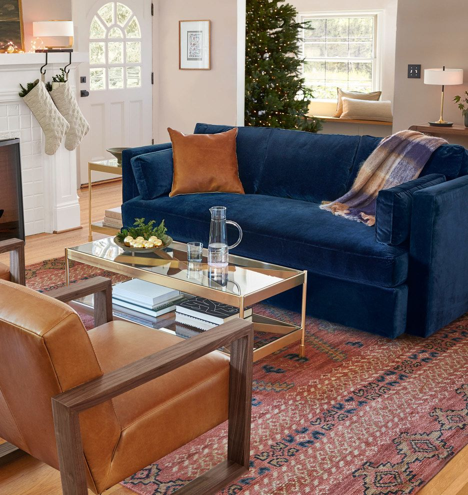 Adair Rust Hand Knotted Rug Rejuvenation Blue Sofas Living Room Blue Couch Living Velvet Couch Living Room #navy #living #room #chair