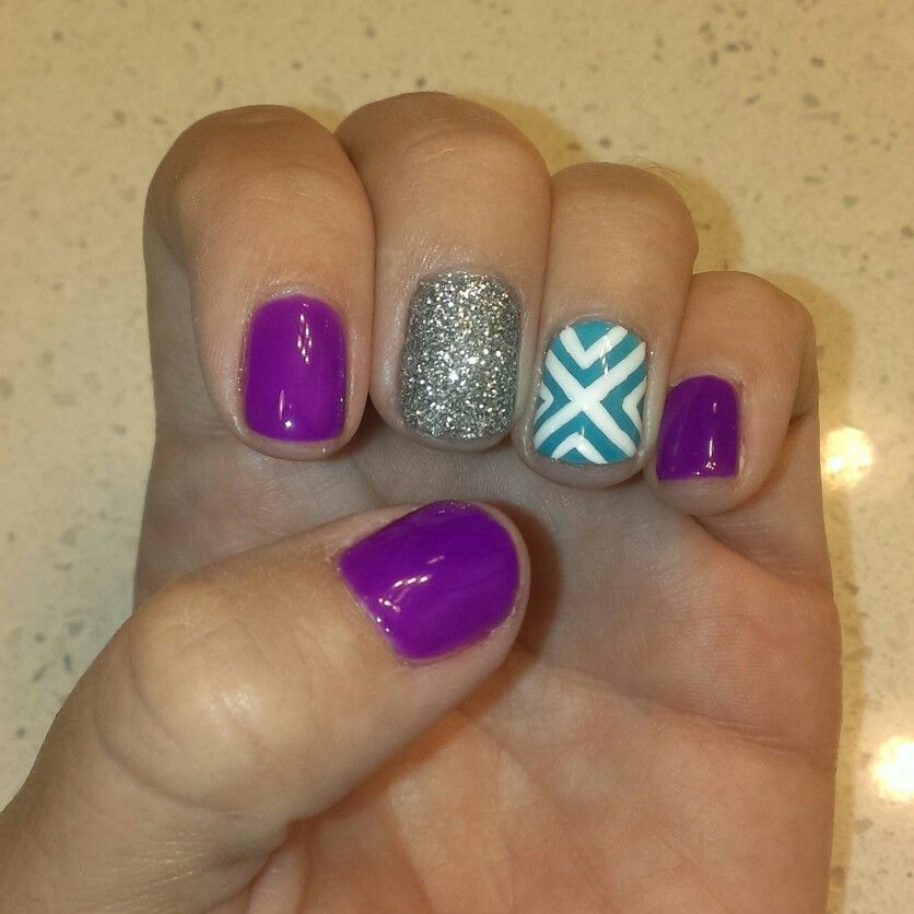Neon purple gelish, silver glitter, turquoise gelish and white ...