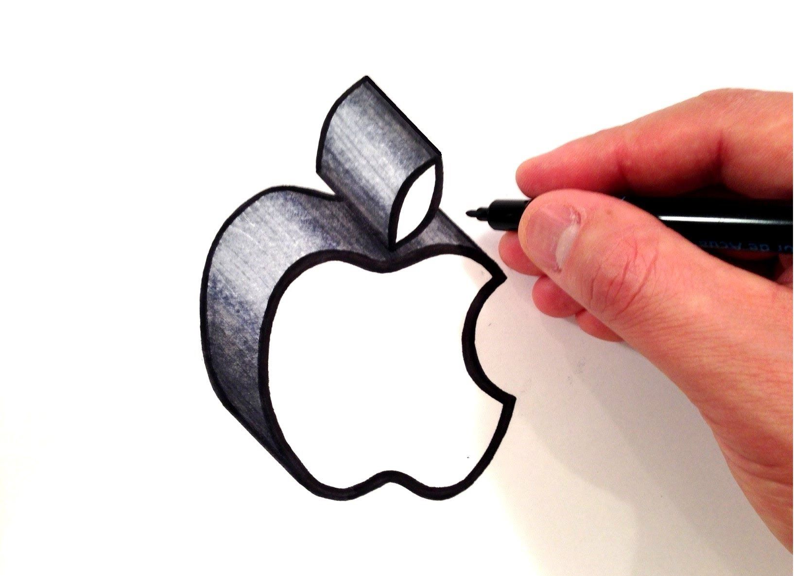 How To Draw The Apple Logo In 3d Colores Frios Y Calidos En