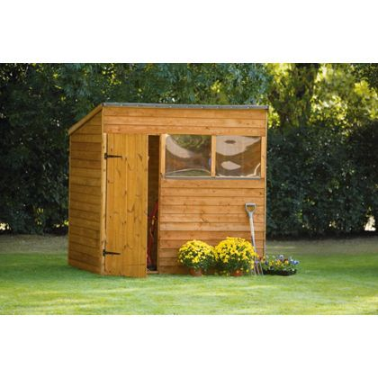 Overlap Pent Shed - 7x5 at Homebase -- pool pump disguise! | Shed ...