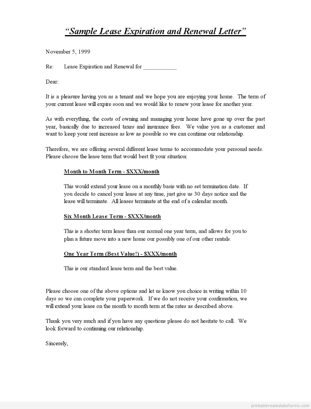 Printable Sample Lease Expiration And Renewal Letter Standard