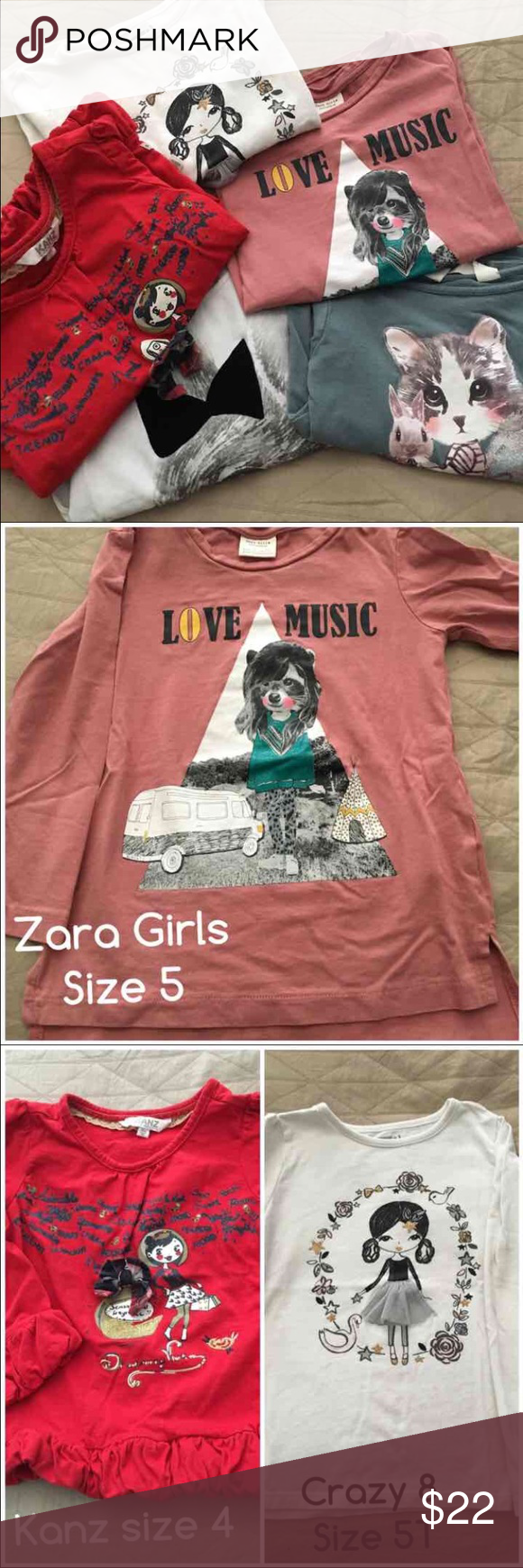 Girls bundle t-shirts size 4-5T Girls bundle long sleeve t-shirts sizes 4-5T by Zara, Kanz, crazy 8 and H&M. Tops Tees - Long Sleeve