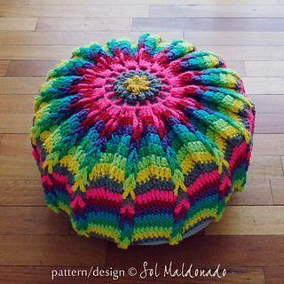 Pouf floor pillow or Mandala Wall Art Hoop pattern by Sol Maldonado ...
