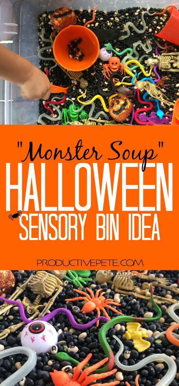 Halloween Sensory Bin Idea Monster Soup Toddler explorations