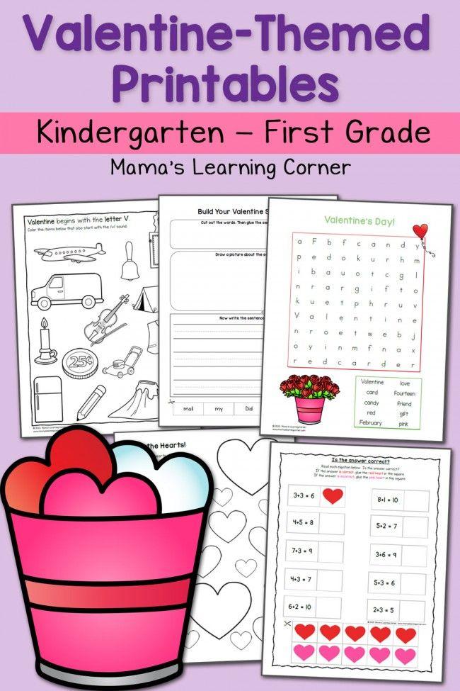 Valentine Worksheets for Kindergarten and First Grade | Pre-school ...