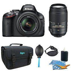 Nikon D5100 16.2 MP Digital SLR Camera  18-55mm G VR DX AF-S Zoom Lens with 55-300mm VR Lens + 32GB Card + Case + (2) Filters + Remote + Tripod + Cleaning Kit