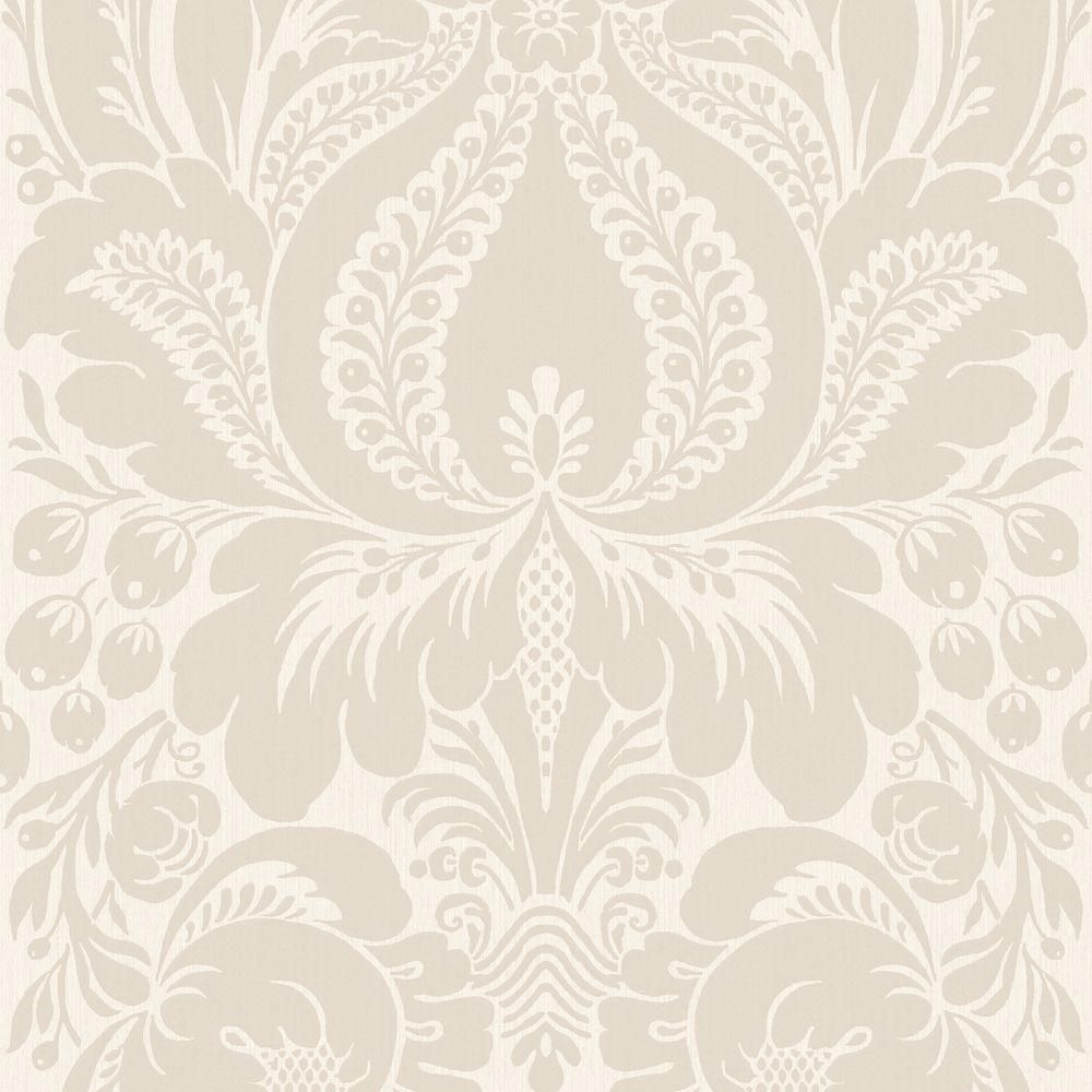 The Wallpaper Company 56 Sq Ft Greige Large Scale Damask