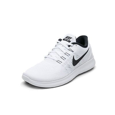 best service 603df 558a8 Nike Free RN Mens 831508-100 White Black Mesh Lightweight Running Shoes Size  10