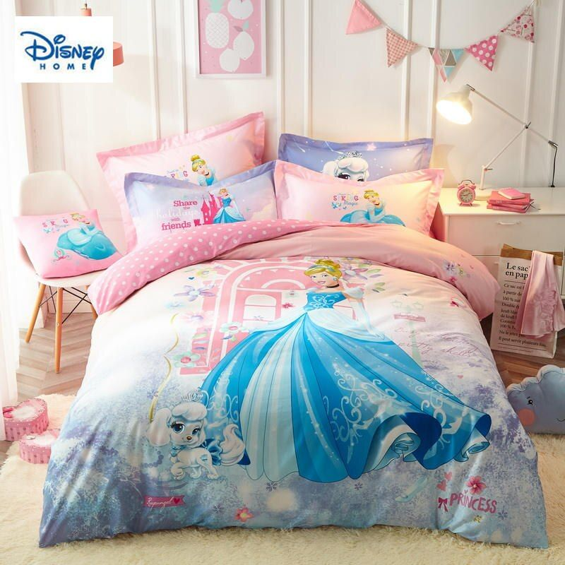 Pink Disney Princess Bedding Set Twin Size 100 Cotton Quilt Comforter Covers Girl Kid Birthday Gift Bed L Bedding Sets Princess Bedding Set Duvet Bedding Sets