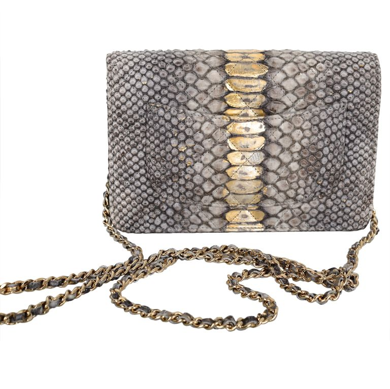 0aabed0b55b Chanel Lame Python Wallet On A Chain Super Rare Piece!