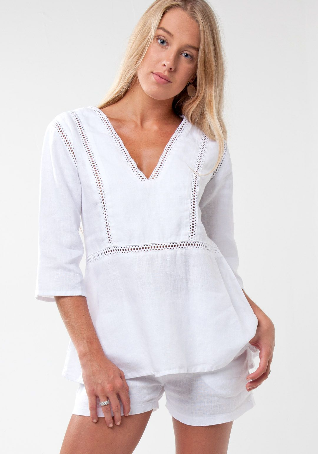 497ba140e1a65 100% Linen V-Neck Blouse with Lace in White in 2019