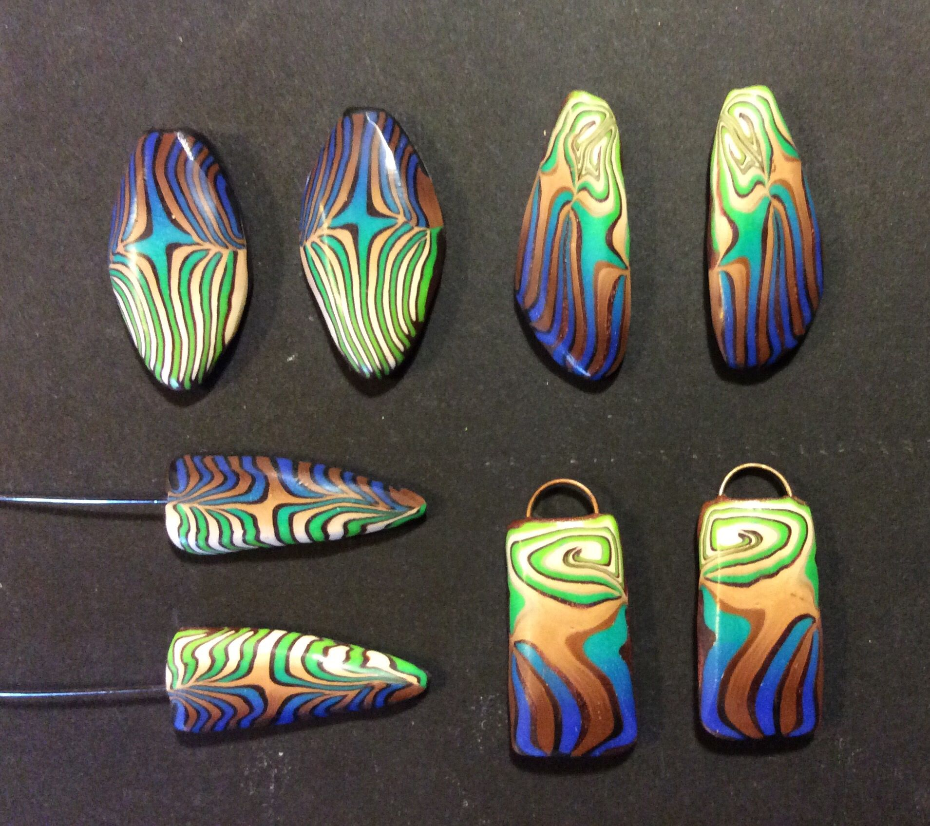 More of that polymer clay crazy cane by Karen Brueggemann. #Polymer #Clay #Canes