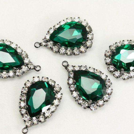 Teardrop Framed glass Rhinestone Pendants for Necklace Earrings Findings #FG-12