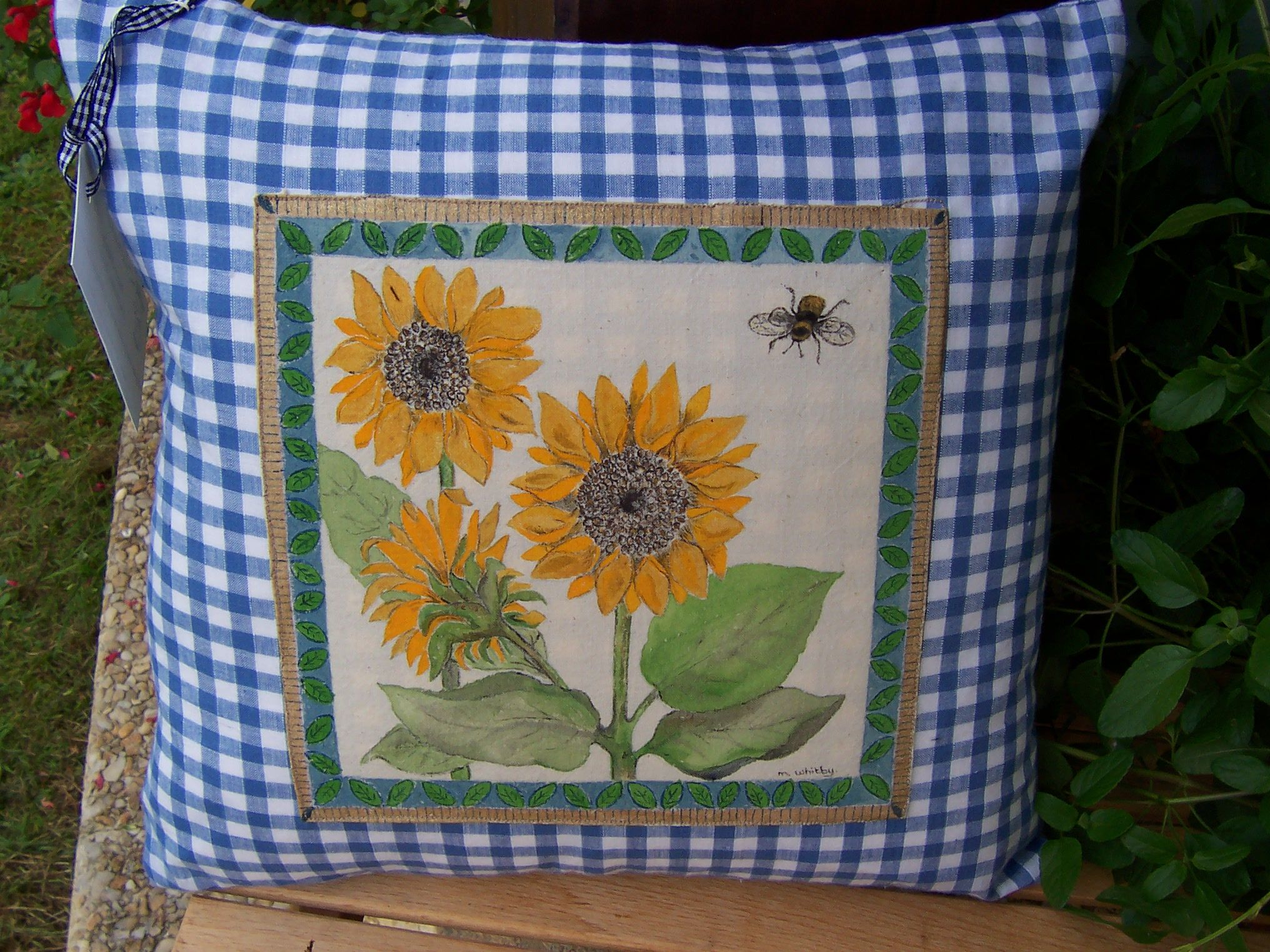 Unique Design Hand Painted Cushion Cover SOLD