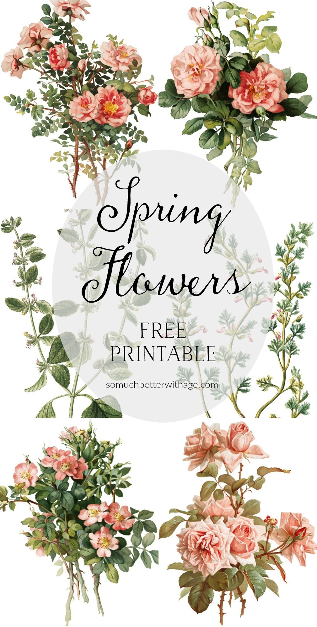 Spring Flowers on Silver Platters Free Printables