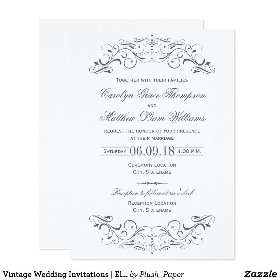 Vintage Wedding Invitations Elegant Flourish Zazzle Com Vintage Wedding Invitations Elegant Wedding Invitations Wedding Invitations