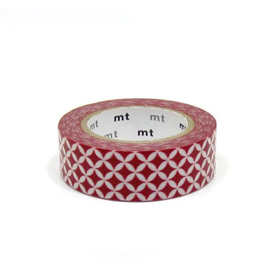 MT 2012- Japanese Washi Masking Tape / Red Mosaic Diamond Pattern for scrapbooking, packaging, party deco, card making 3.95