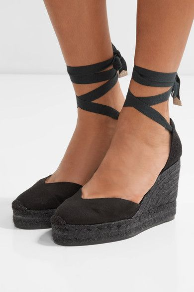 86b66635431 Heel measures approximately 80mm  3 inches with a 20mm  1 inch platform  Black canvas Ties at ankle Imported