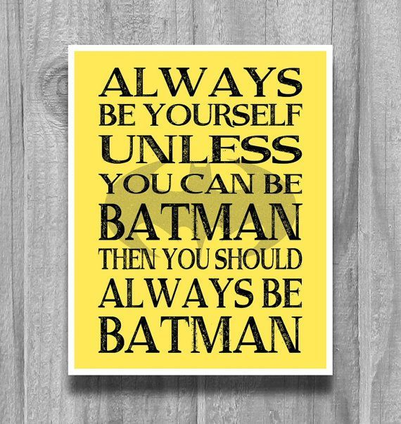 Always Be Batman Boys Wall Art Print Bedroom Decor Yellow Black OR ...