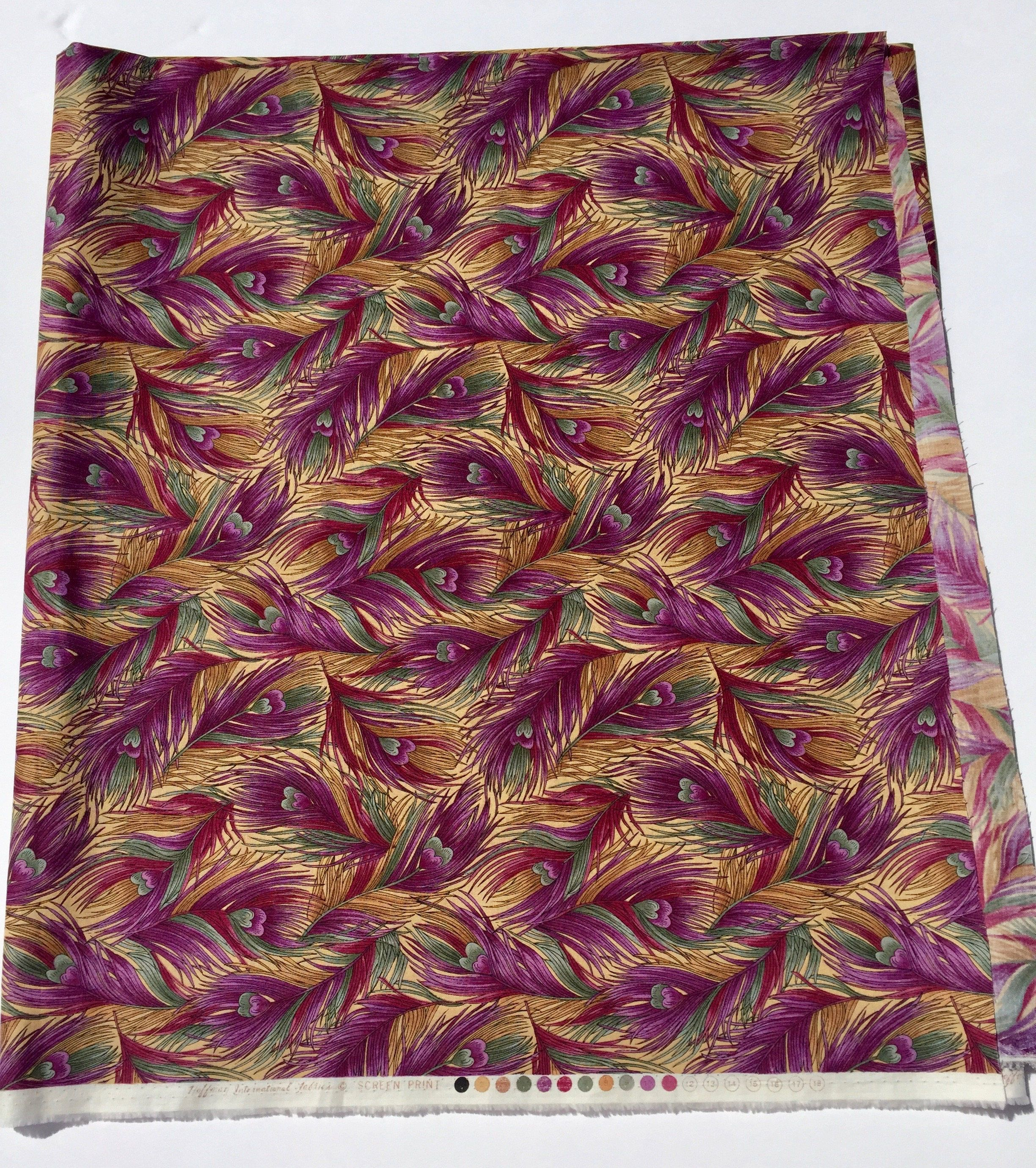 2 Yards of Hoffman International Fabric, Green, Gold and Purple ... : quilting fabric sale - Adamdwight.com