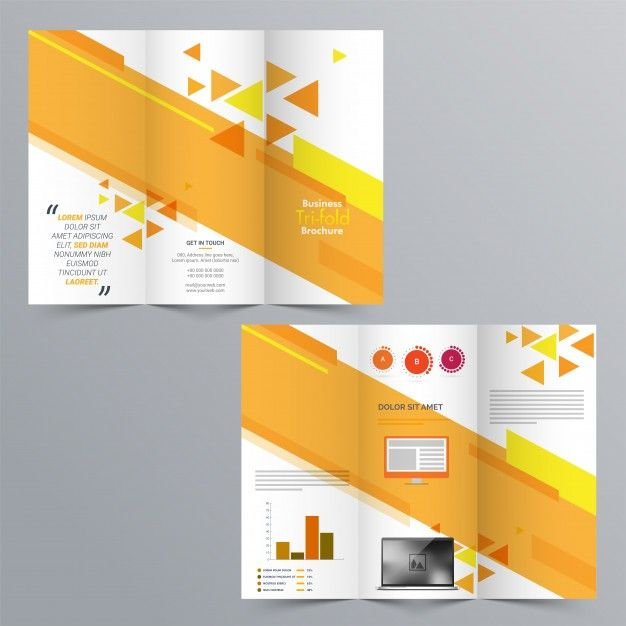 Business TriFold Brochure Template Design With Front And Back - Business tri fold brochure templates