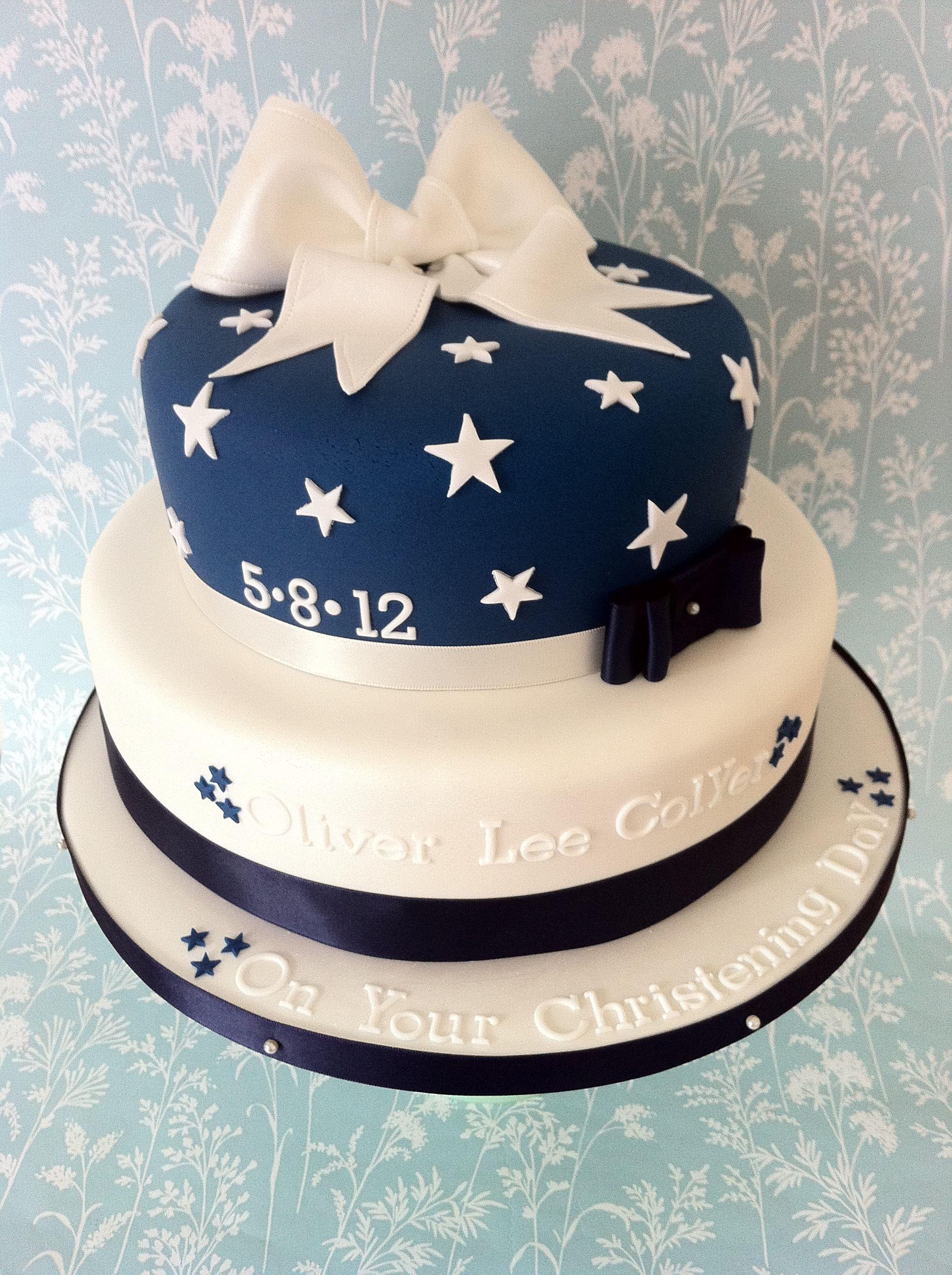 A 2 tier christening cake