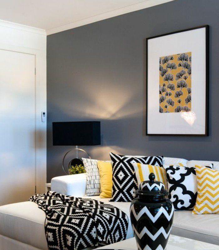 deco salon gris mur couleur anthracite mobilier et accessoires en blanc noir et jaune dco contemporain