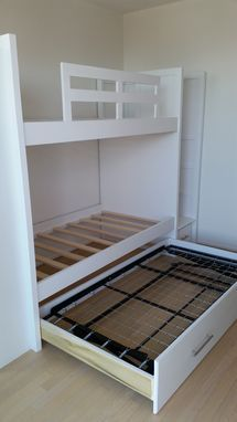 Custom Made Twin Over Twin Bunk Bed With Pop Up Trundle Stairs