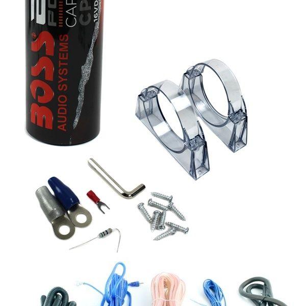 BOSS CPBK2 2 0 FARAD LED Digital Car Capacitor Cap + 4 Gauge