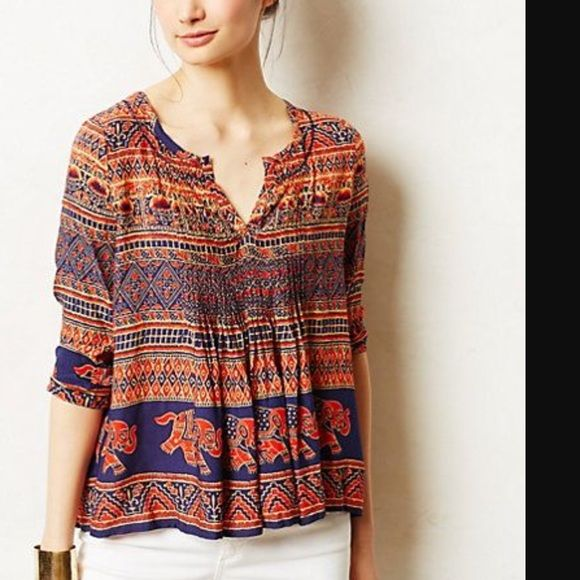 Vanessa Virginia blouse Blouse with elephant print.  Beautiful pattern with multiple color - dark orange, beige and blue. Anthropologie Tops Blouses