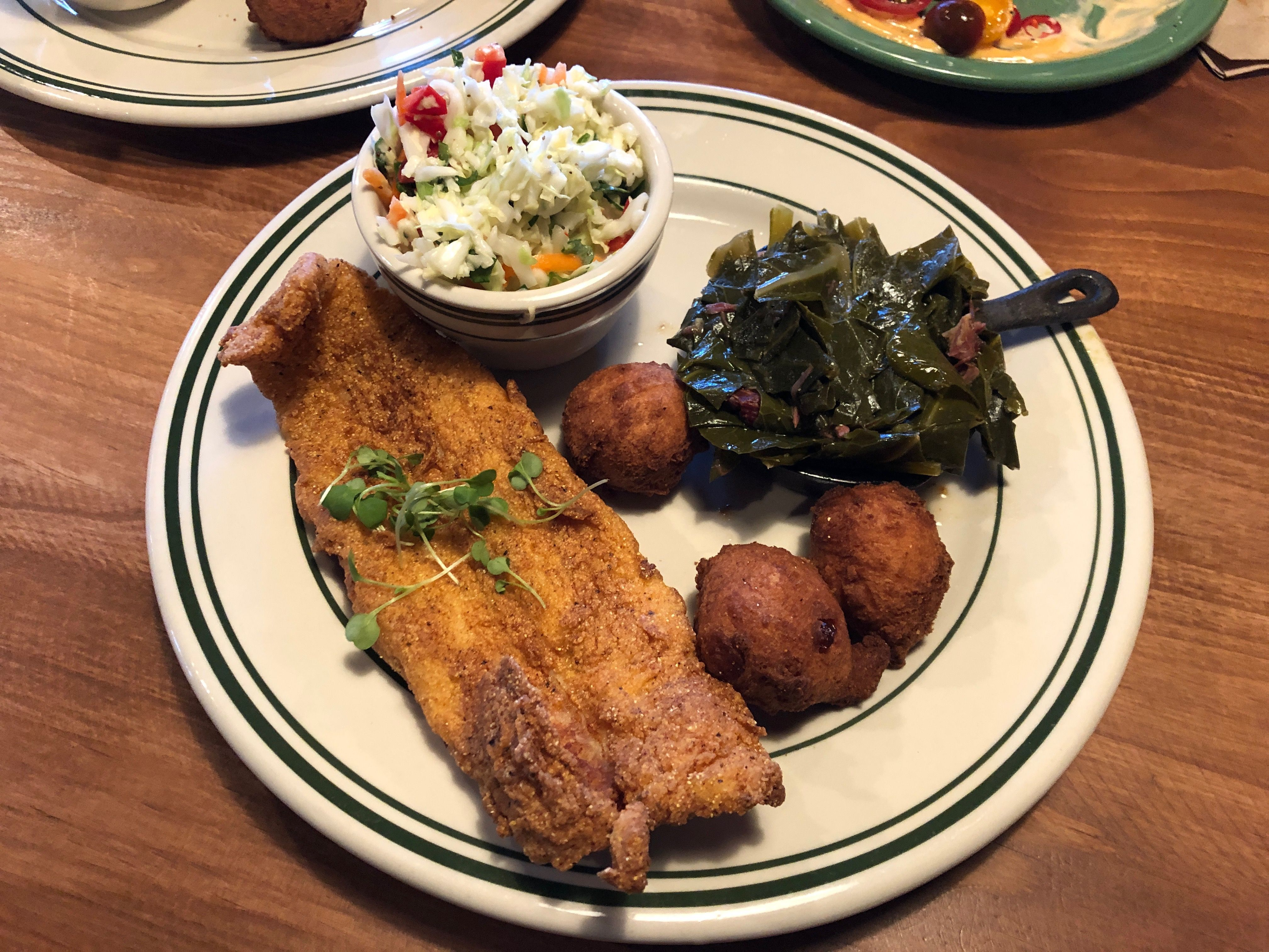 Catfish Hush Puppies Cole Slaw Collards In 2020 Coleslaw Food Slaw