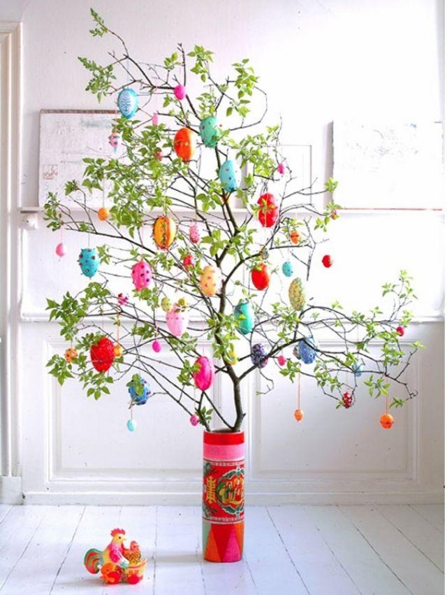 Baum äste Deko frühling gestaltung baum zweige blumenvase basteln dekorieren