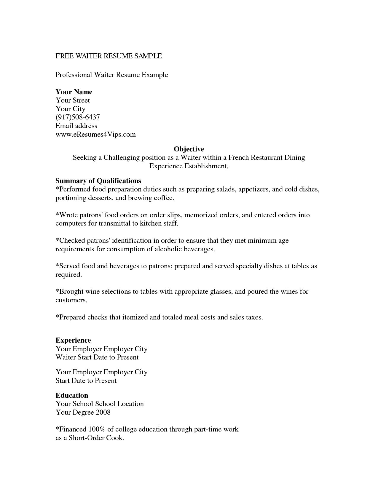 cover letter resume for waitress position example within