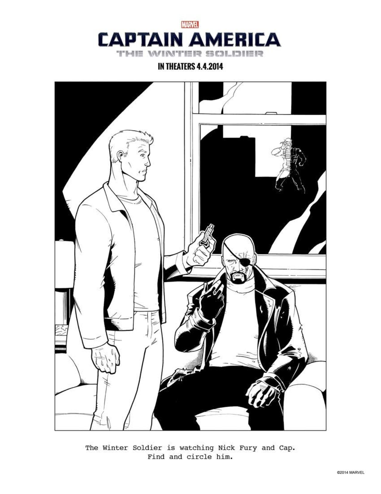 12 CAPTAIN AMERICA: THE WINTER SOLDIER coloring sheets to keep ...