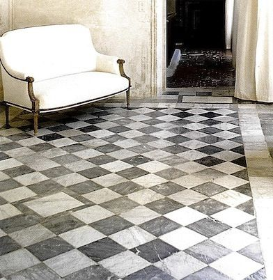 White Marble Floor Black Accents   Google Search