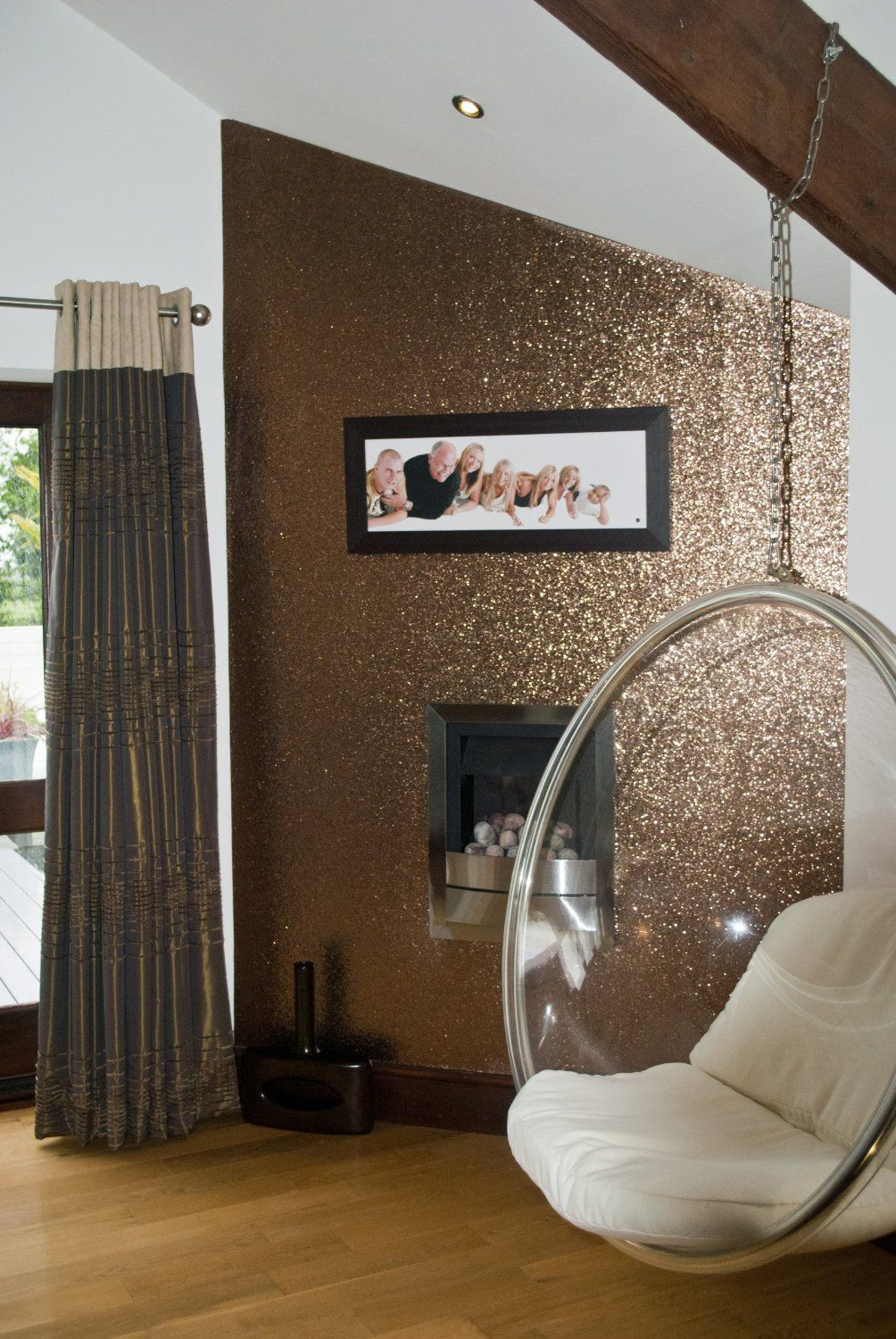 Glitter wallpaper bronze price per metre for Gold wall paint uk