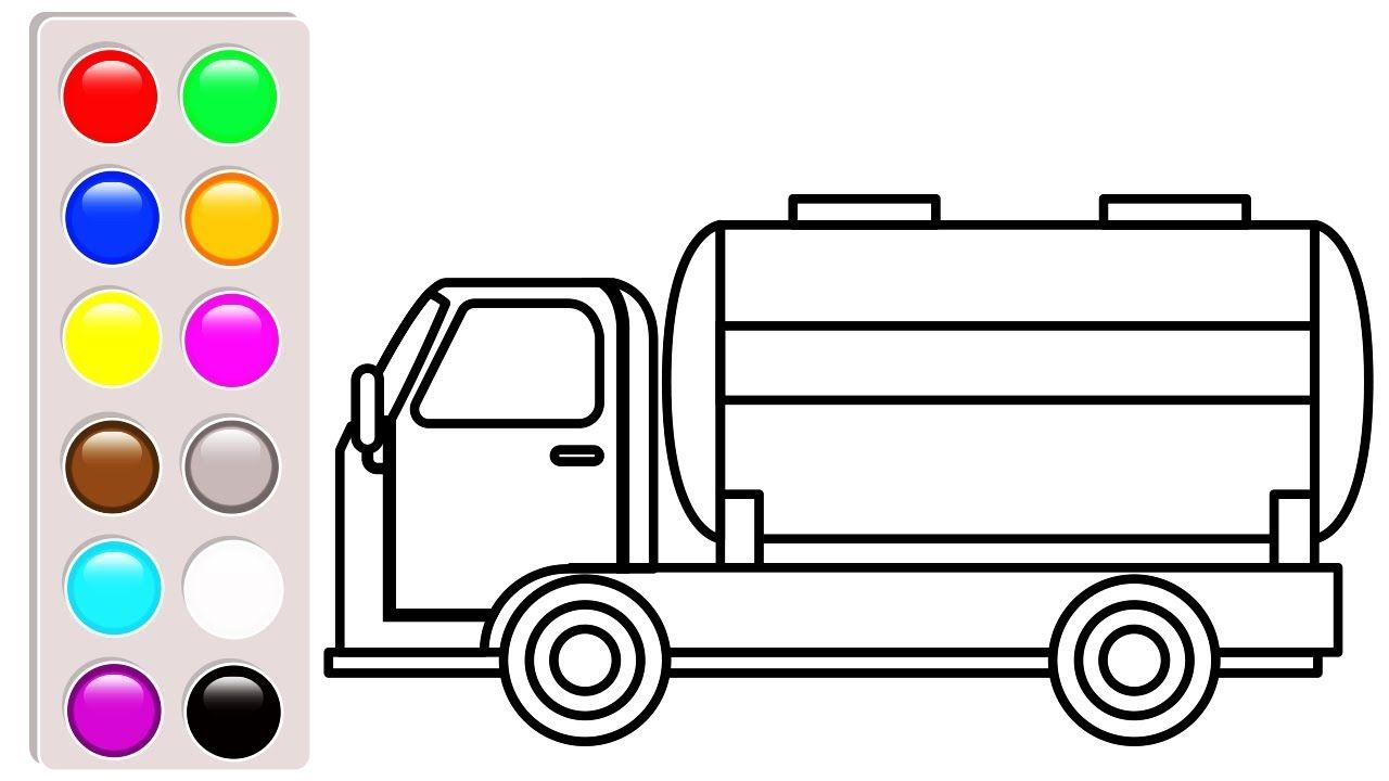 Learn Colors For Baby With Car And Truck Coloring Pages Oil Truck Color Truck Coloring Pages Learning To Draw For Kids Coloring Pages For Kids