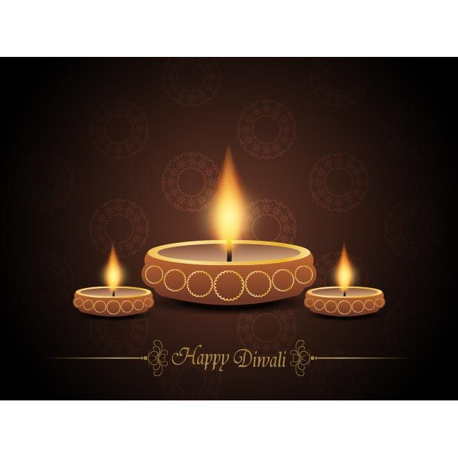 Vector Vintage Elegant Happy Diwali Event Greeting Card With Beautiful Happy Diwali Victorian Style Logo And Wallpaper Background