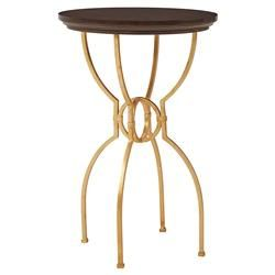Harriet Modern Classic Round Gold Ebony Inlay Side Table | Kathy Kuo Home