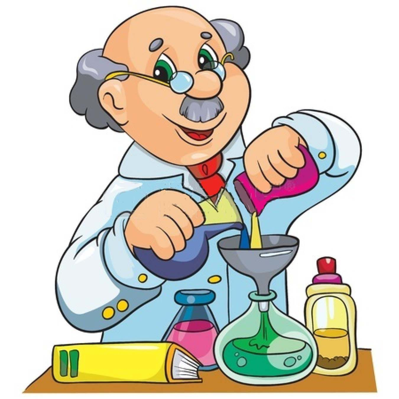 cartoon scientist chemistry professor science clipart laboratory character royalty mad vector illustrations drawing hand