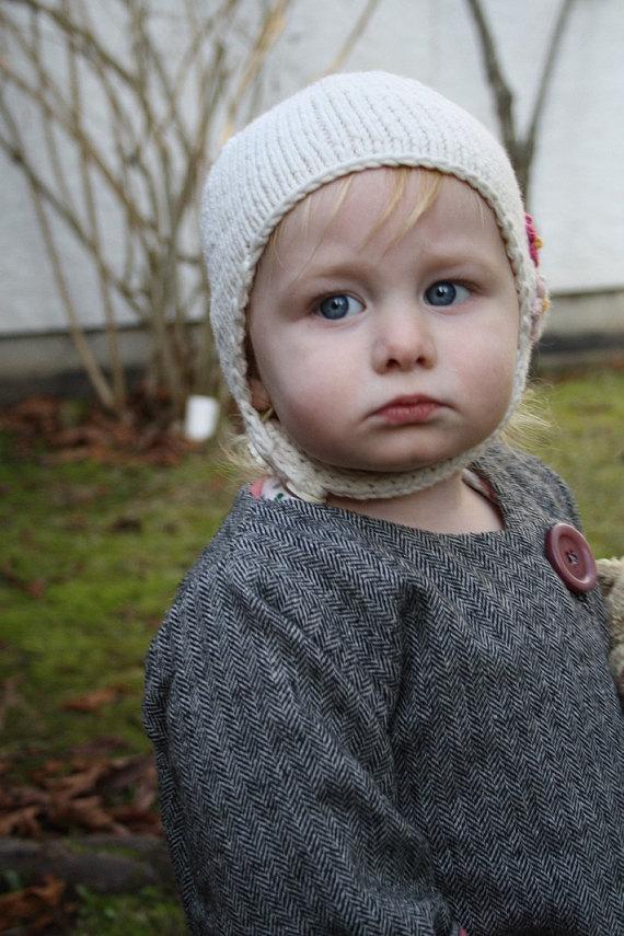 806da9e7e9e KNITTING PATTERN    Amelia    kids baby earflap hat with buttons knitting  pattern -- PDF download