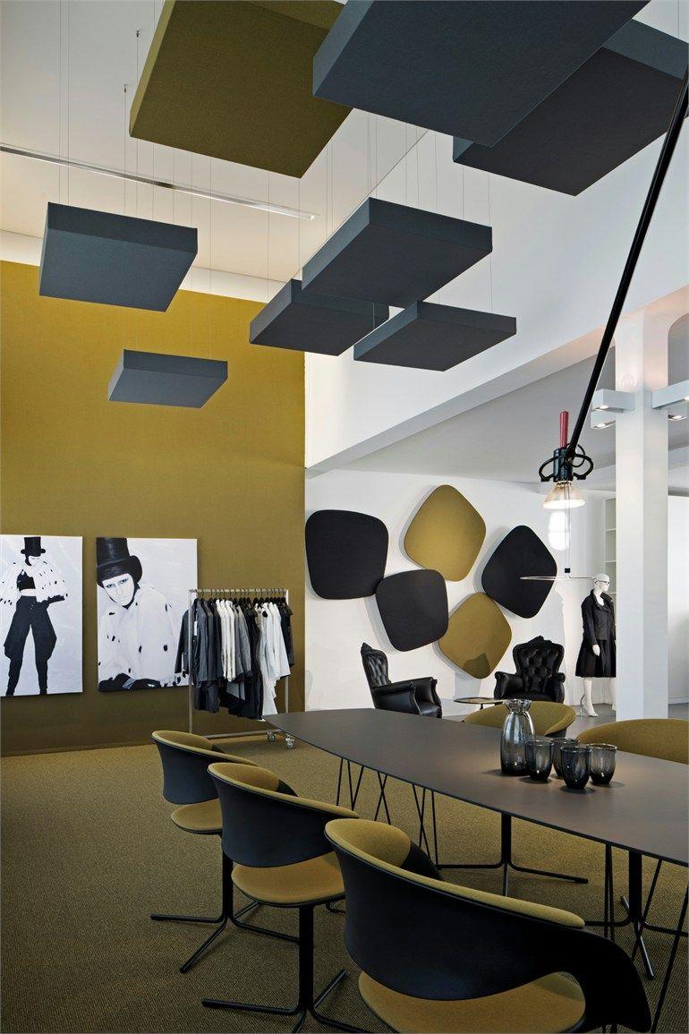 Acoustic Ceiling Clouds Cube Carpet Concept Office Interior Design Commercial Interior Design Office Interiors