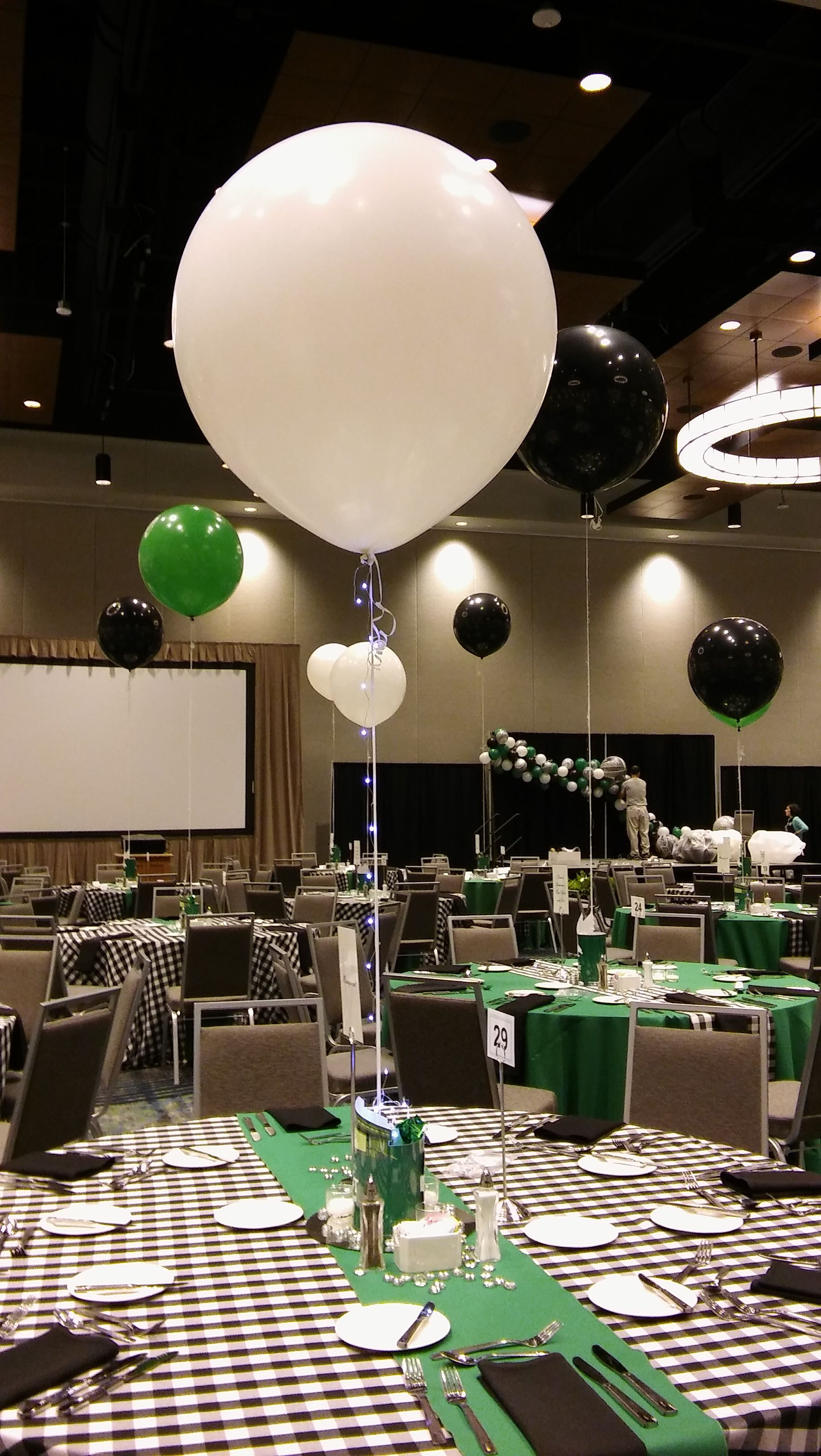 Tiny Lights Were Added To Every 3ft Balloon Centerpiece Making A Big Impact Party Rentals Pjs R Balloon Centerpieces Balloon Delivery Balloon Decorations