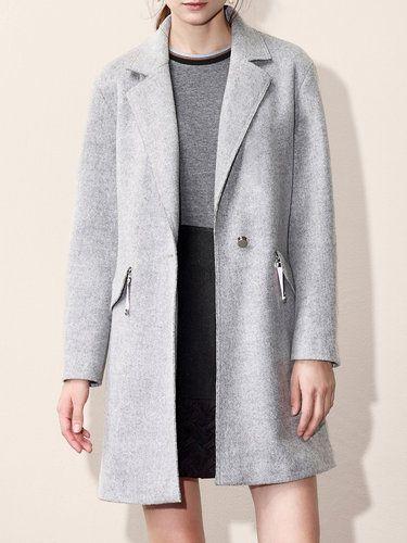Gray Simple Zipper Wool-blend Detachable Hoodie H-line Coat