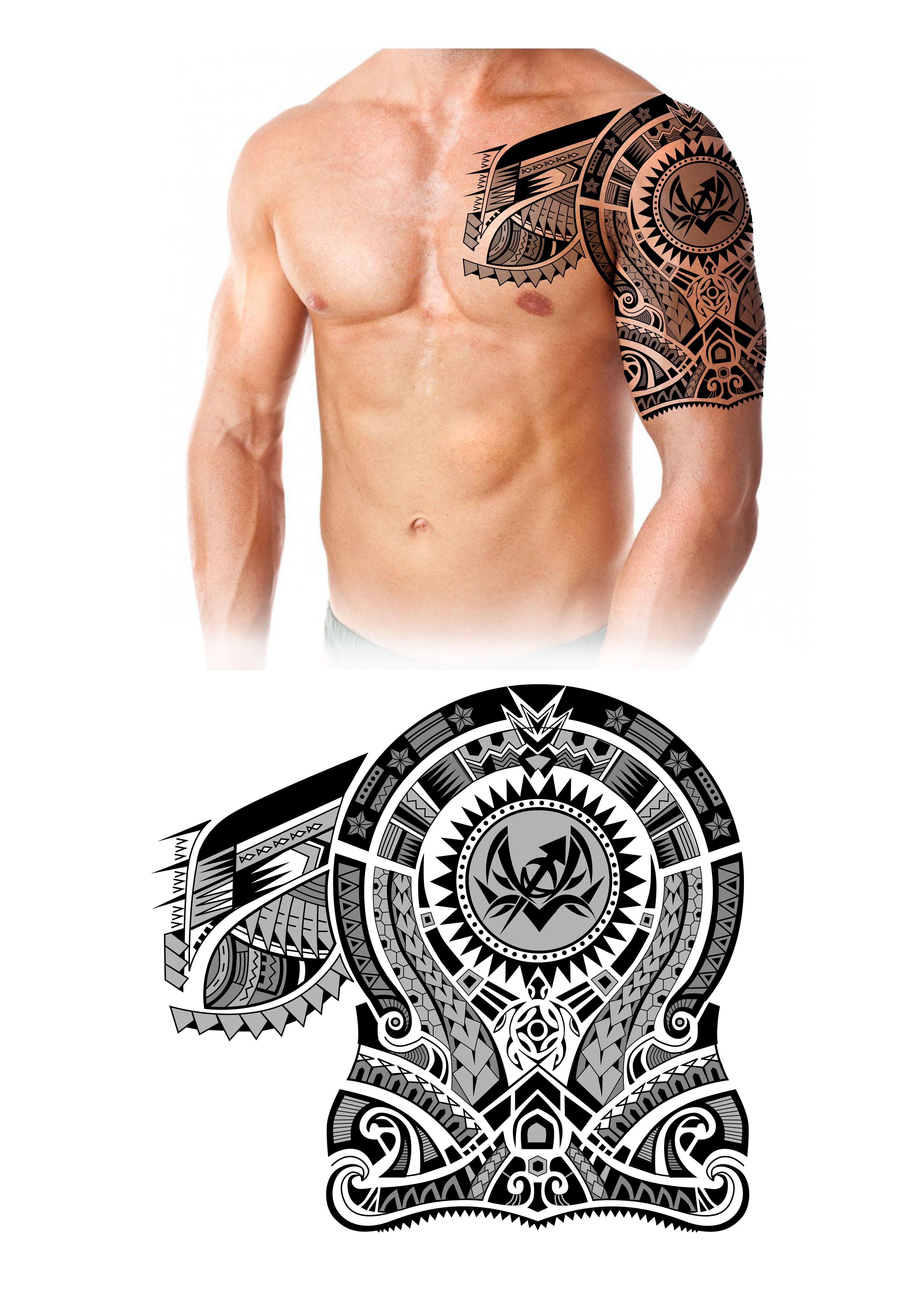 Polynesian Maori Half Sleeve Chest Tattoo Design. Designer