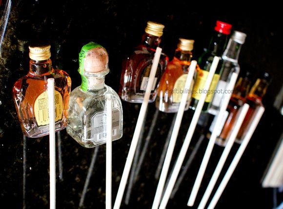 Mini bottle of liquor on dowels to make a gift basket ...