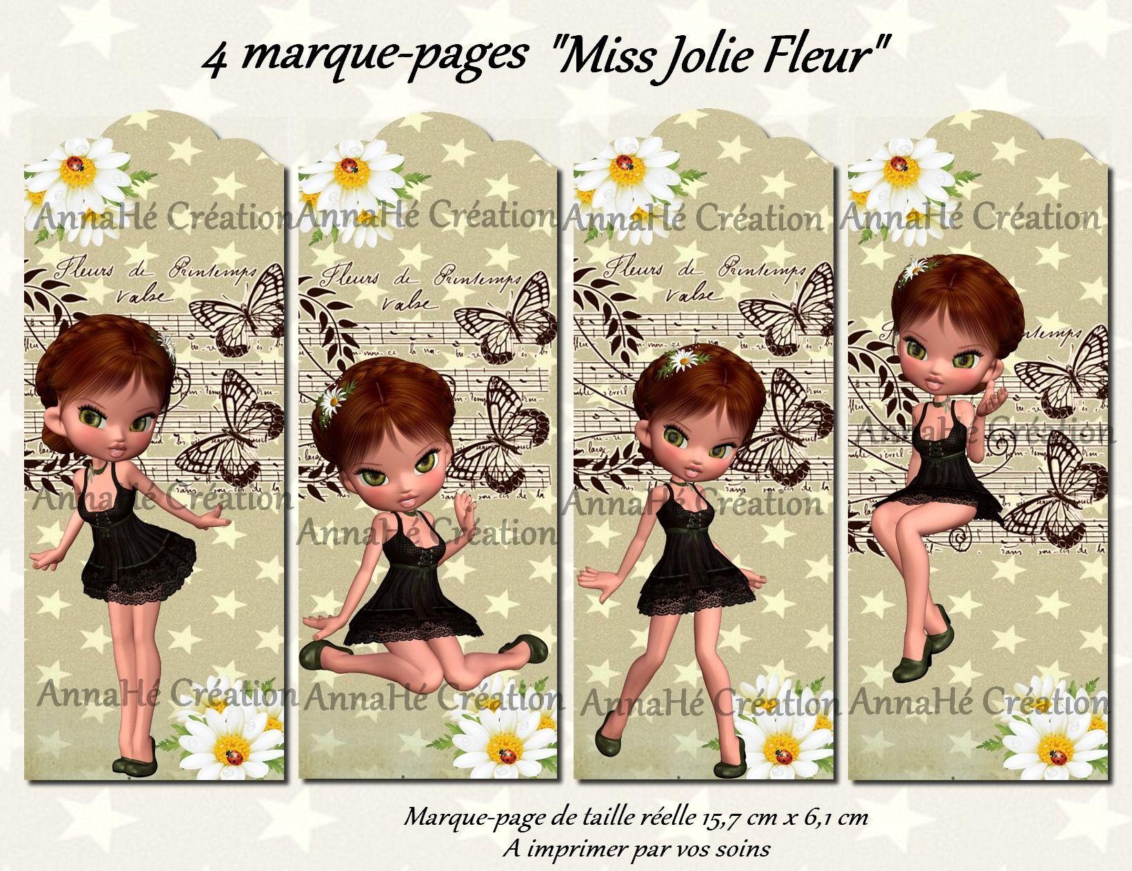 4 marque pages imprimer miss jolie fleur marque pages par annahe creation grilles de. Black Bedroom Furniture Sets. Home Design Ideas