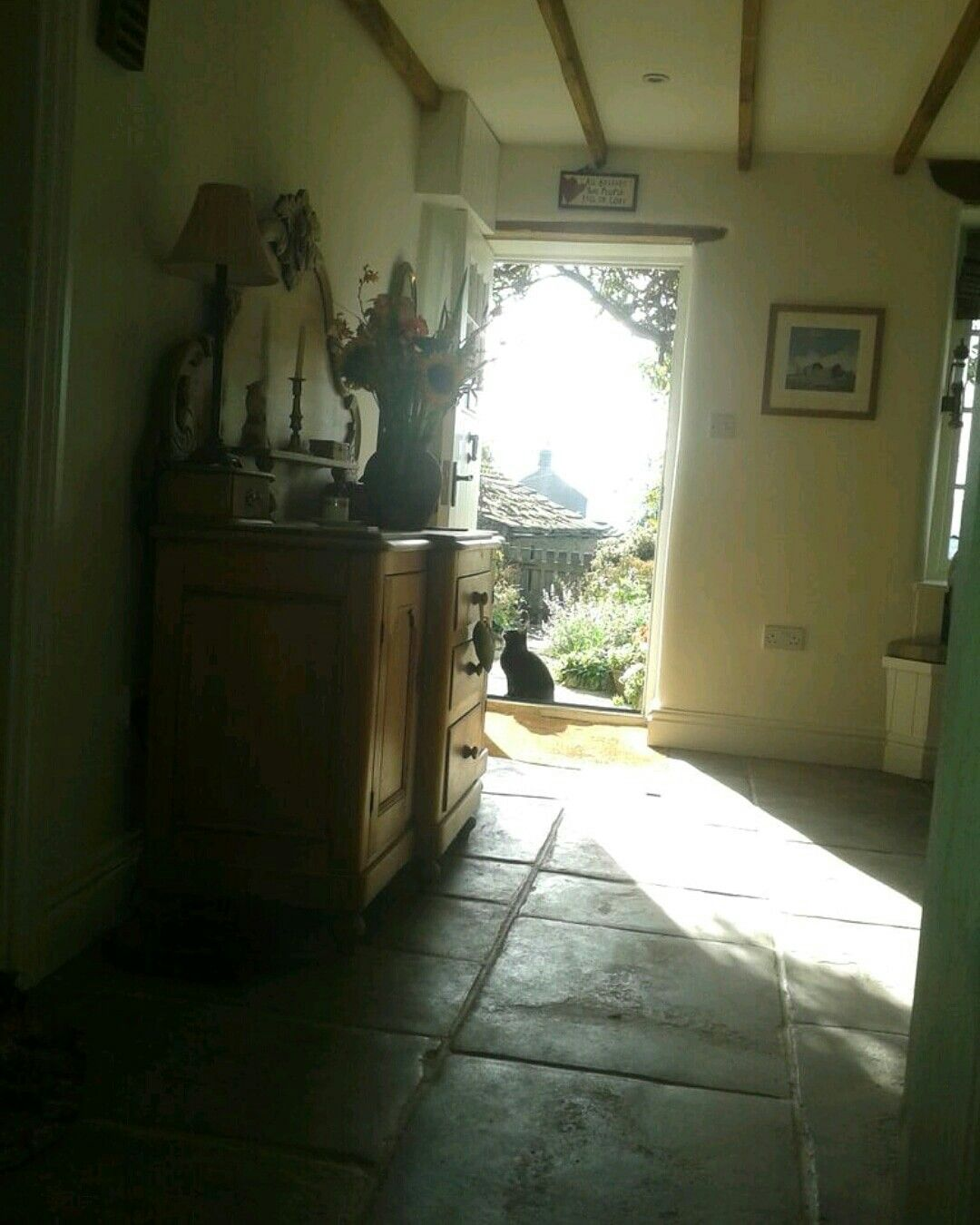 Dining room ... looking out the front door. The flagstones had ...