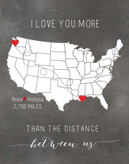 Customized Long Distance Relationship Map that I bought for Knox